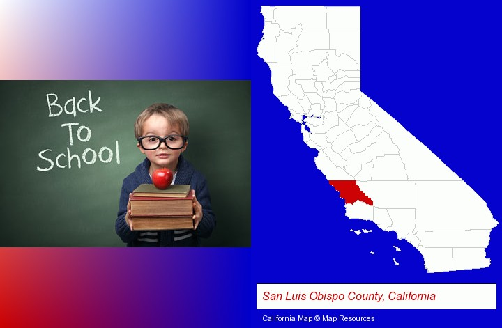 the back-to-school concept; San Luis Obispo County, California highlighted in red on a map