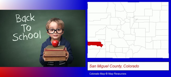 the back-to-school concept; San Miguel County, Colorado highlighted in red on a map