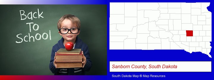 the back-to-school concept; Sanborn County, South Dakota highlighted in red on a map