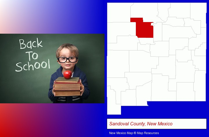 the back-to-school concept; Sandoval County, New Mexico highlighted in red on a map