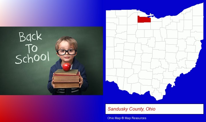 the back-to-school concept; Sandusky County, Ohio highlighted in red on a map