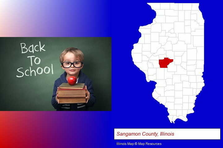 the back-to-school concept; Sangamon County, Illinois highlighted in red on a map