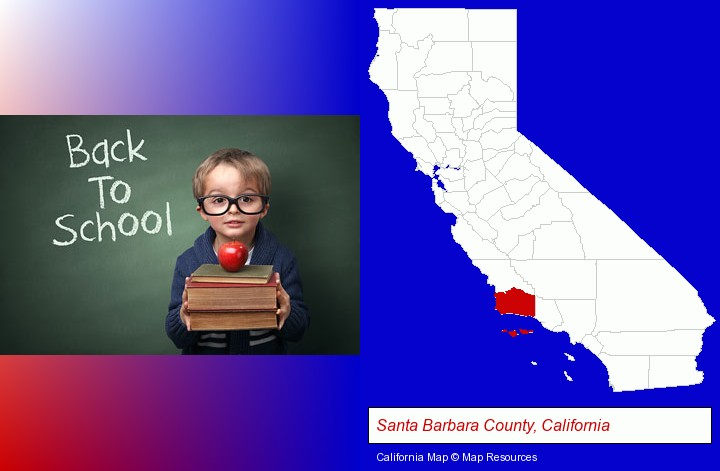 the back-to-school concept; Santa Barbara County, California highlighted in red on a map