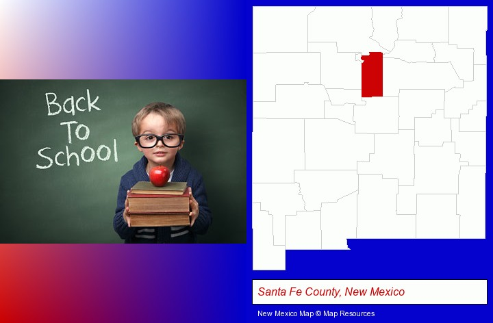 the back-to-school concept; Santa Fe County, New Mexico highlighted in red on a map