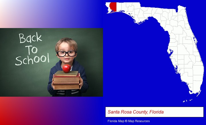 the back-to-school concept; Santa Rosa County, Florida highlighted in red on a map