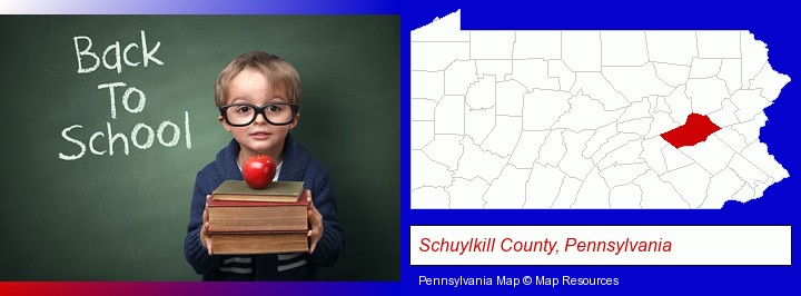 the back-to-school concept; Schuylkill County, Pennsylvania highlighted in red on a map