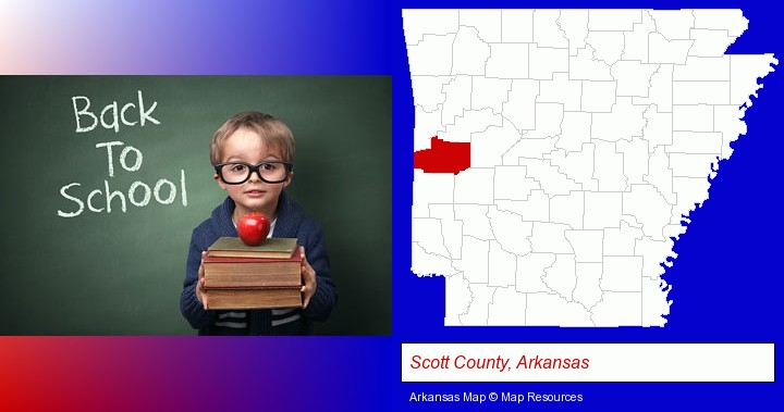 the back-to-school concept; Scott County, Arkansas highlighted in red on a map