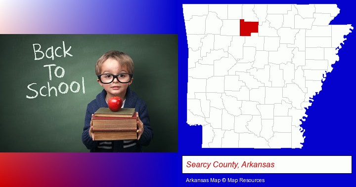 the back-to-school concept; Searcy County, Arkansas highlighted in red on a map