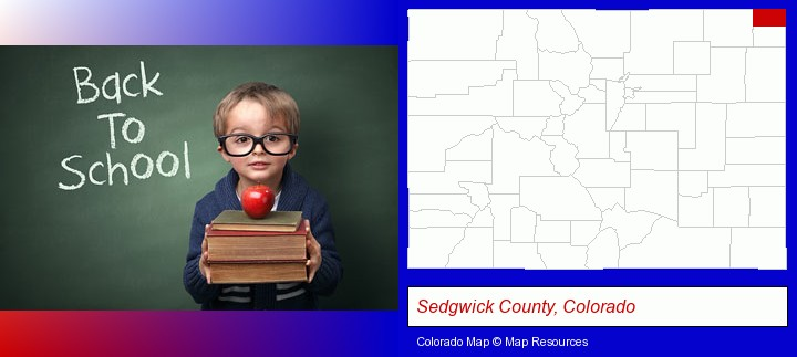 the back-to-school concept; Sedgwick County, Colorado highlighted in red on a map