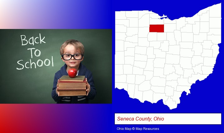 the back-to-school concept; Seneca County, Ohio highlighted in red on a map
