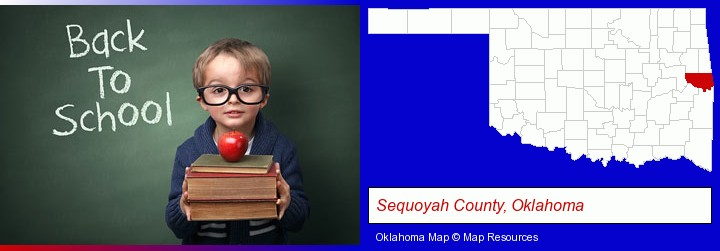 the back-to-school concept; Sequoyah County, Oklahoma highlighted in red on a map
