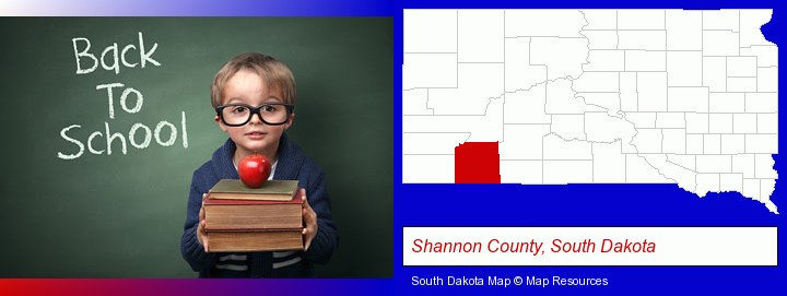 the back-to-school concept; Shannon County, South Dakota highlighted in red on a map