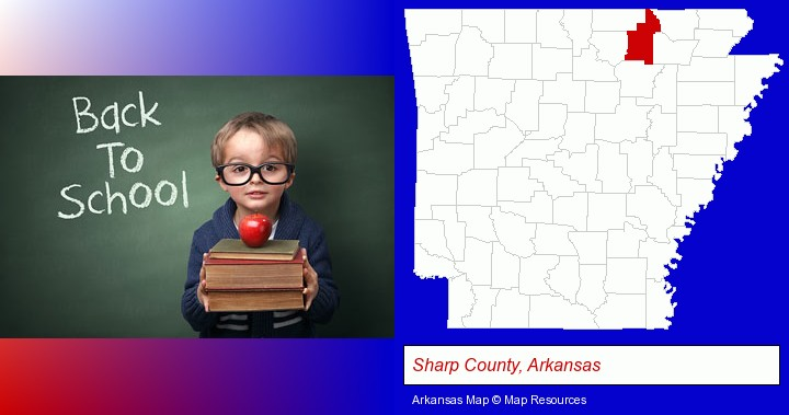 the back-to-school concept; Sharp County, Arkansas highlighted in red on a map