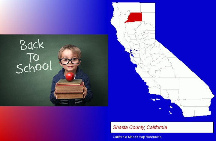 the back-to-school concept; Shasta County, California highlighted in red on a map