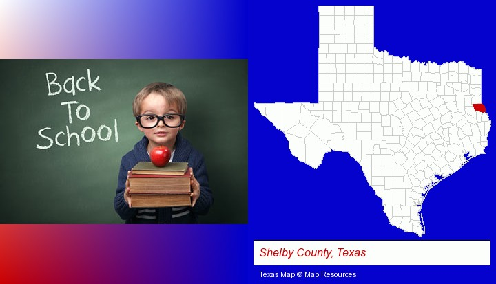 the back-to-school concept; Shelby County, Texas highlighted in red on a map