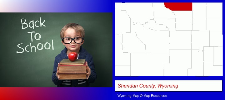 the back-to-school concept; Sheridan County, Wyoming highlighted in red on a map