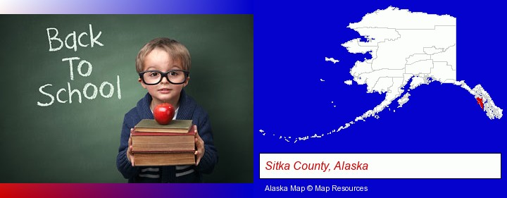 the back-to-school concept; Sitka County, Alaska highlighted in red on a map