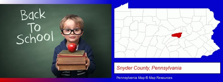 the back-to-school concept; Snyder County, Pennsylvania highlighted in red on a map
