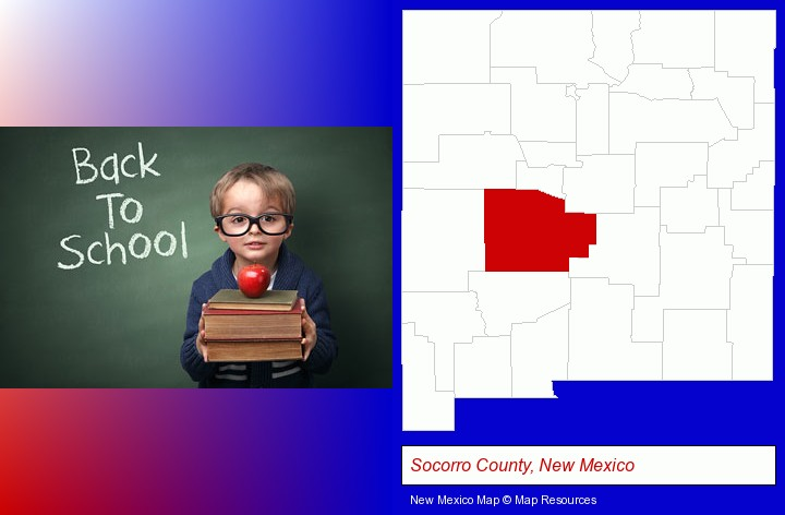 the back-to-school concept; Socorro County, New Mexico highlighted in red on a map