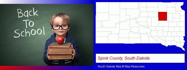the back-to-school concept; Spink County, South Dakota highlighted in red on a map
