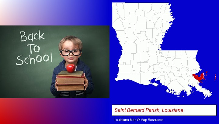 the back-to-school concept; Saint Bernard Parish, Louisiana highlighted in red on a map