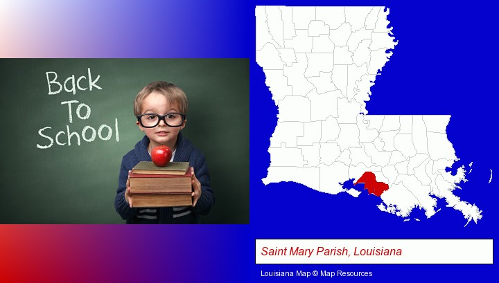 the back-to-school concept; Saint Mary Parish, Louisiana highlighted in red on a map