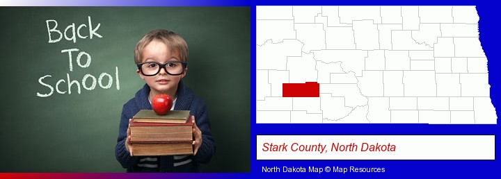 the back-to-school concept; Stark County, North Dakota highlighted in red on a map