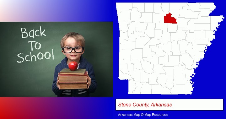 the back-to-school concept; Stone County, Arkansas highlighted in red on a map