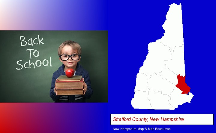 the back-to-school concept; Strafford County, New Hampshire highlighted in red on a map