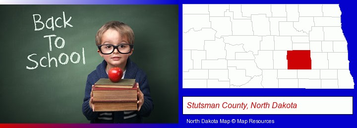 the back-to-school concept; Stutsman County, North Dakota highlighted in red on a map