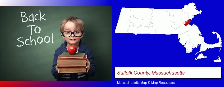the back-to-school concept; Suffolk County, Massachusetts highlighted in red on a map