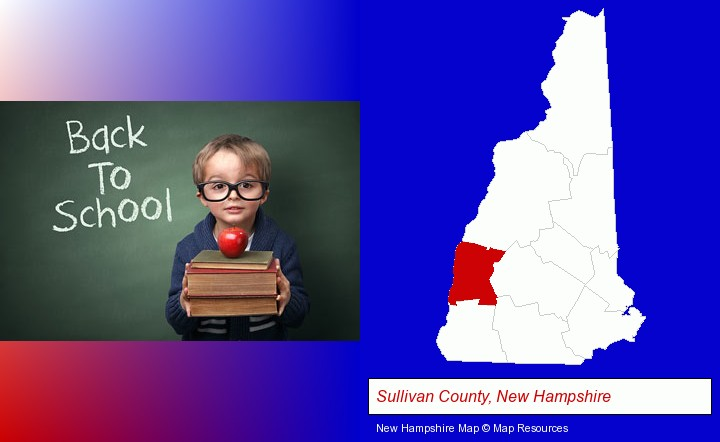 the back-to-school concept; Sullivan County, New Hampshire highlighted in red on a map