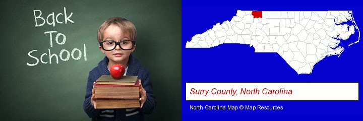 the back-to-school concept; Surry County, North Carolina highlighted in red on a map