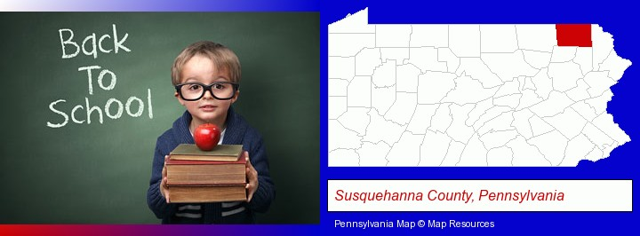 the back-to-school concept; Susquehanna County, Pennsylvania highlighted in red on a map