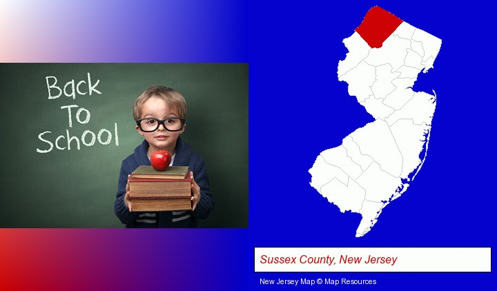 the back-to-school concept; Sussex County, New Jersey highlighted in red on a map