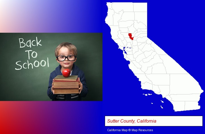 the back-to-school concept; Sutter County, California highlighted in red on a map