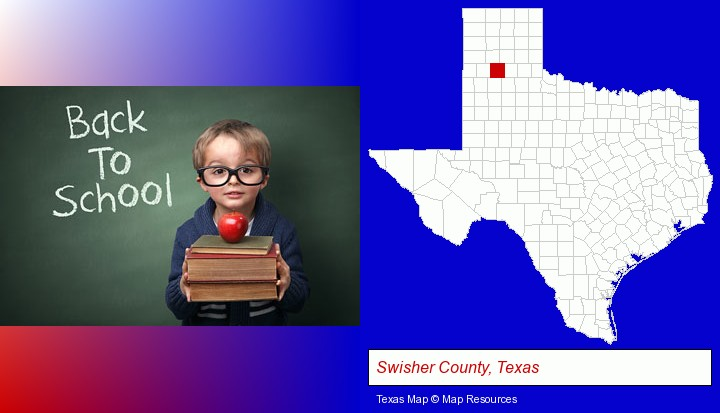 the back-to-school concept; Swisher County, Texas highlighted in red on a map