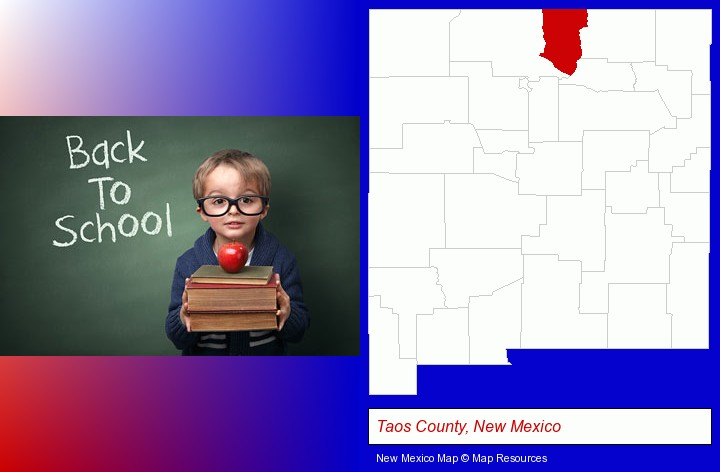 the back-to-school concept; Taos County, New Mexico highlighted in red on a map