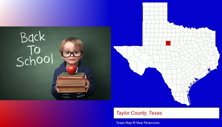 the back-to-school concept; Taylor County, Texas highlighted in red on a map