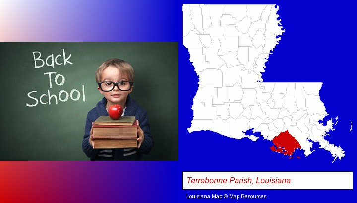 the back-to-school concept; Terrebonne Parish, Louisiana highlighted in red on a map