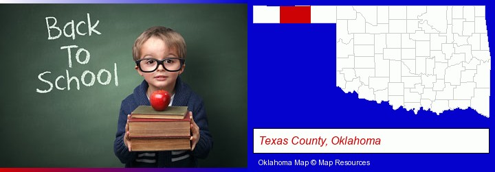 the back-to-school concept; Texas County, Oklahoma highlighted in red on a map