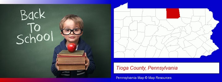 the back-to-school concept; Tioga County, Pennsylvania highlighted in red on a map