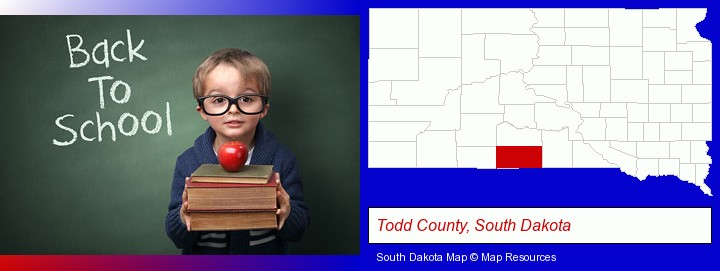 the back-to-school concept; Todd County, South Dakota highlighted in red on a map