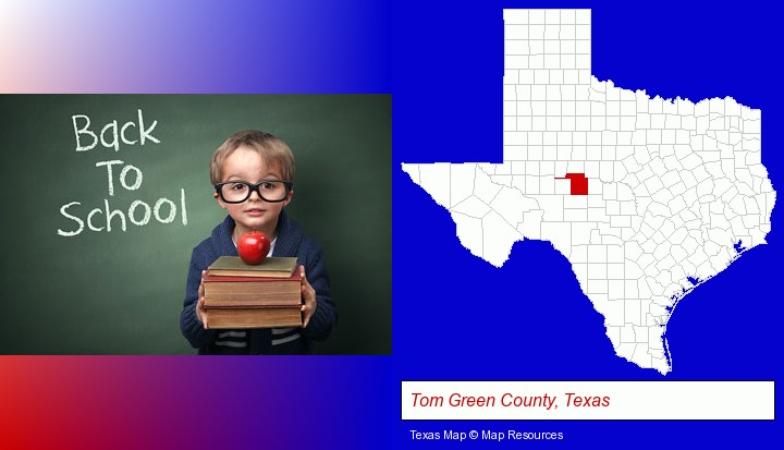 the back-to-school concept; Tom Green County, Texas highlighted in red on a map