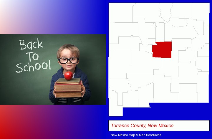 the back-to-school concept; Torrance County, New Mexico highlighted in red on a map