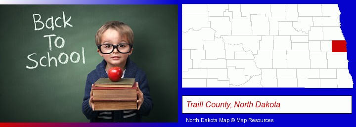 the back-to-school concept; Traill County, North Dakota highlighted in red on a map
