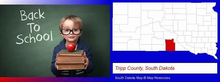the back-to-school concept; Tripp County, South Dakota highlighted in red on a map