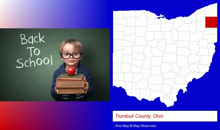 the back-to-school concept; Trumbull County, Ohio highlighted in red on a map