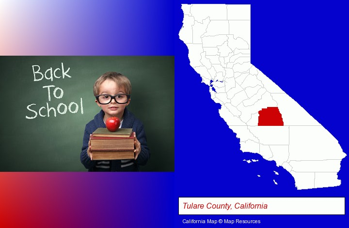 the back-to-school concept; Tulare County, California highlighted in red on a map