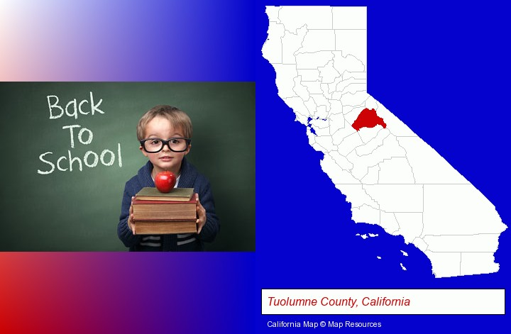 the back-to-school concept; Tuolumne County, California highlighted in red on a map